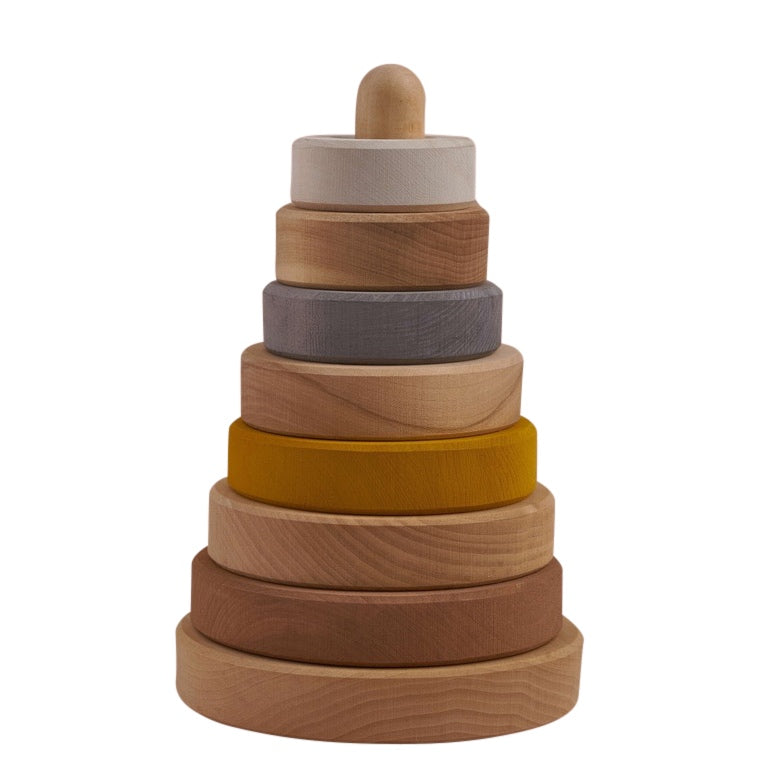 Raduga Grëz Wooden Sand Coloured Stacking Tower