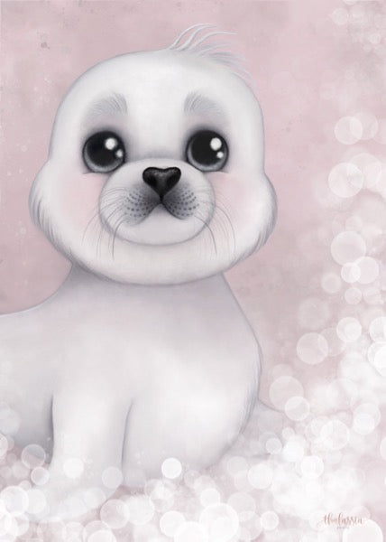 Isla Dream Prints Sid The Harp Seal Print - Pink