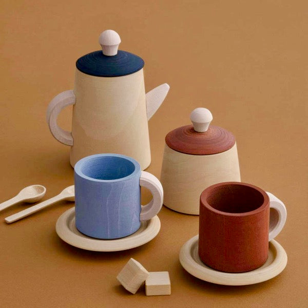 Terracotta and blue Wooden Kids Tea Set