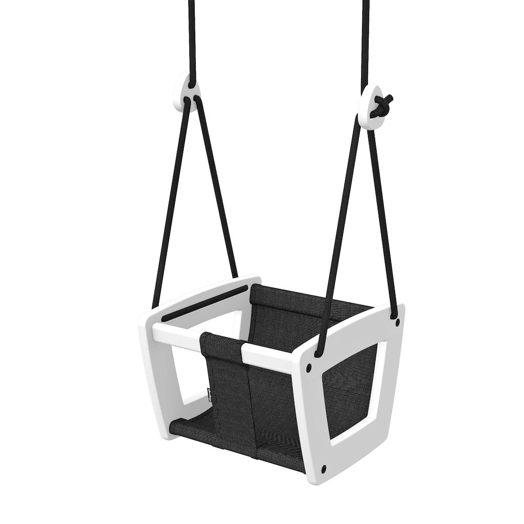 Lillagunga Toddler Swing - White Birch with Black Dice Fabric