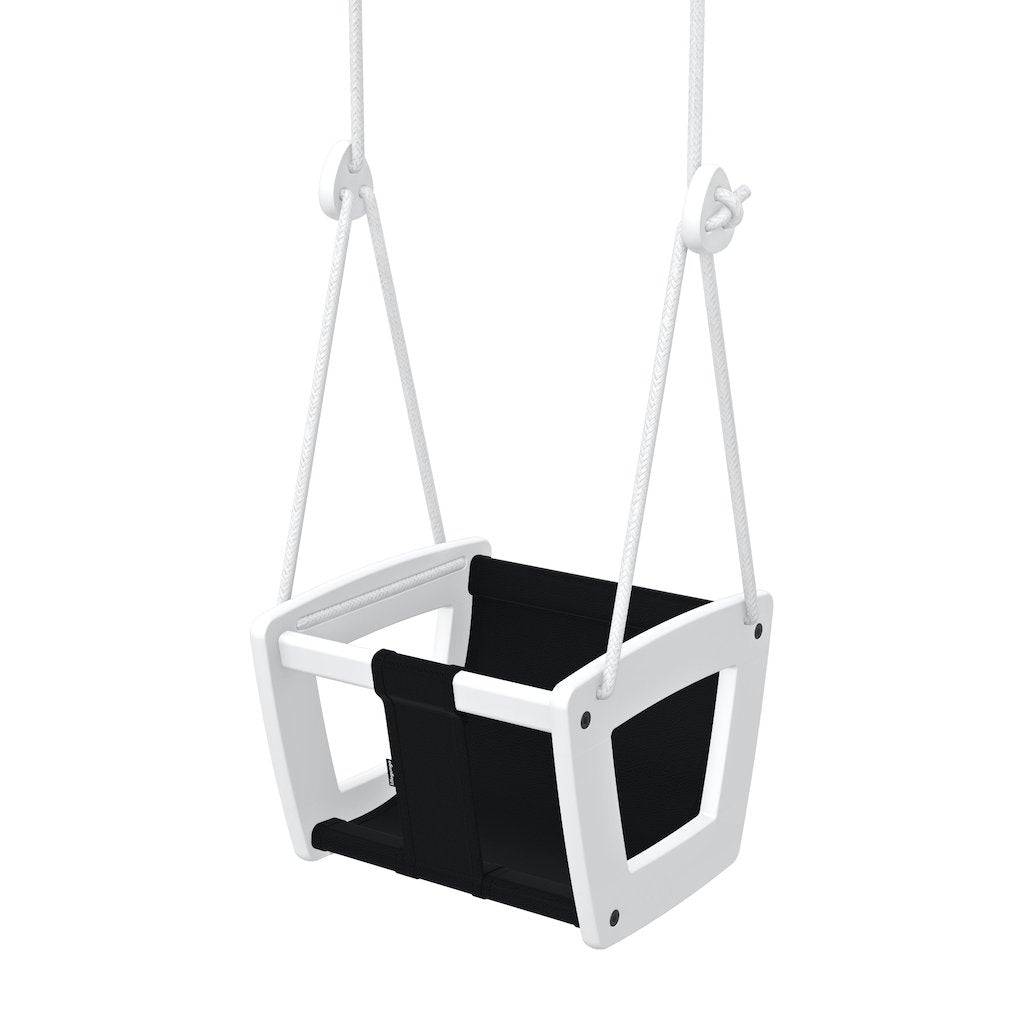 Lillagunga Toddler Swing - White Birch with Black Leather