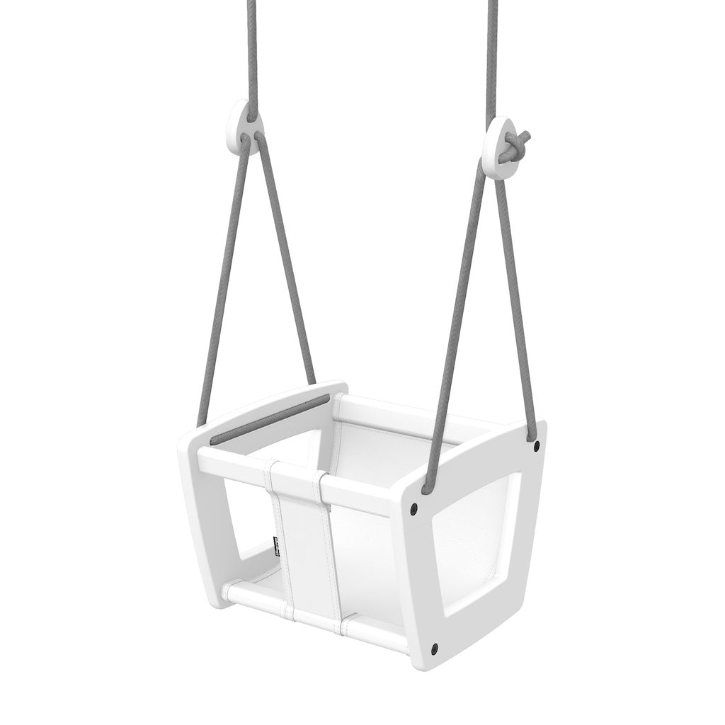 Lillagunga Toddler Swing - White Birch with White Leather