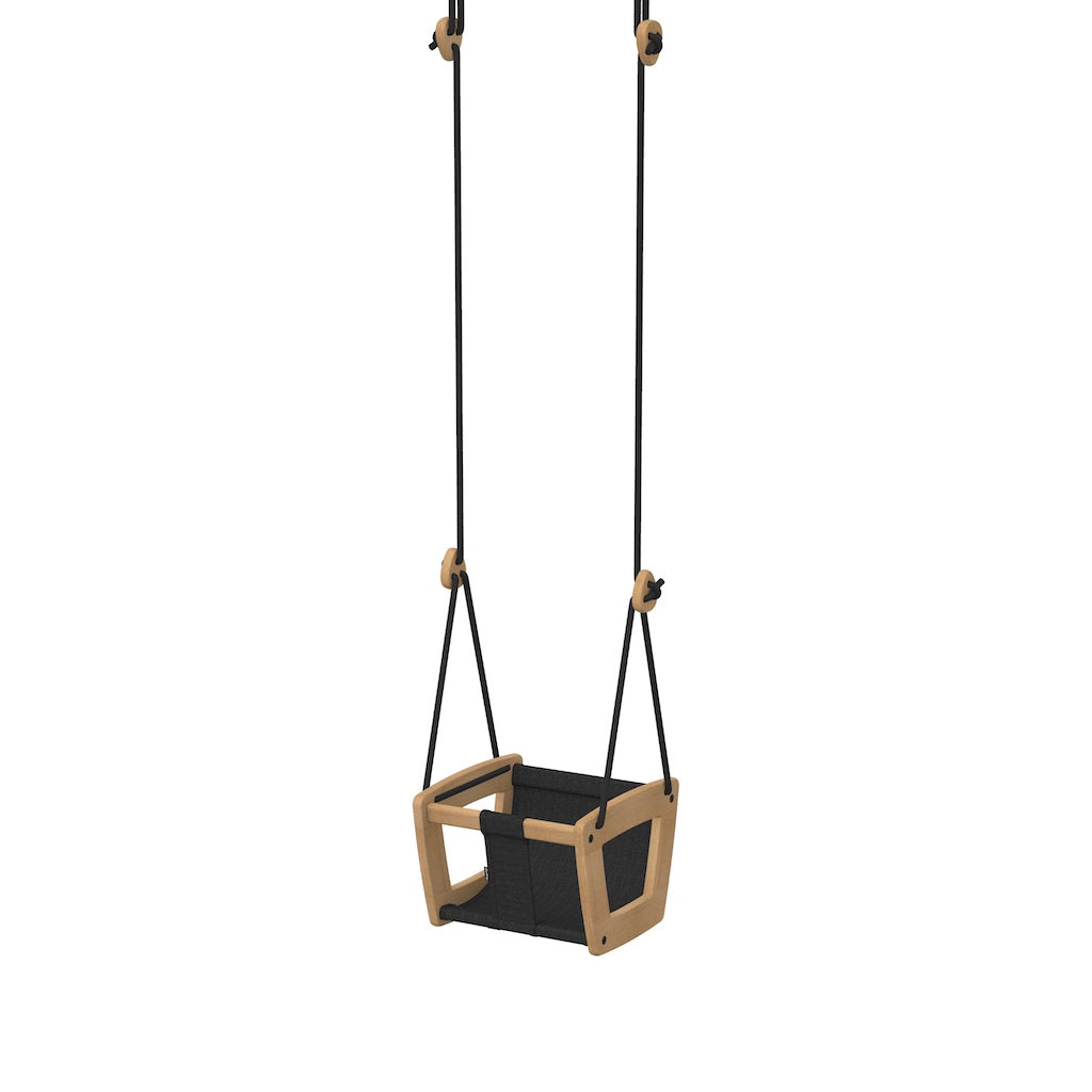 Lillagunga Toddler Swing - Oak with Black Dice Fabric