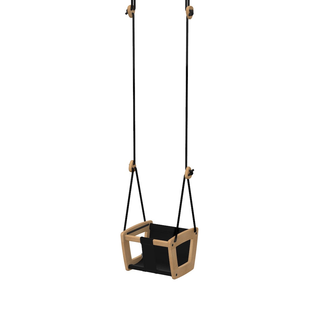 Lillagunga Toddler Swing - Oak with Black Leather