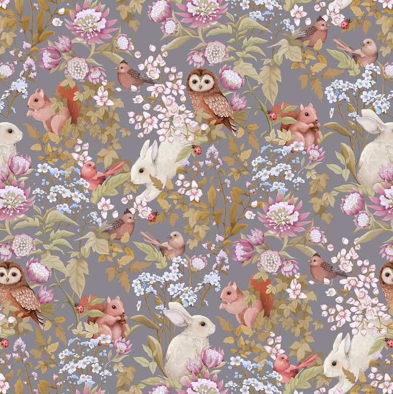 Jimmy Cricket Woodlands Wallpaper - Dark Lavender