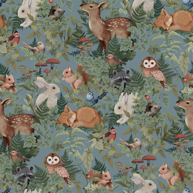 Jimmy Cricket Woodlands on dusty blue background Wallpaper