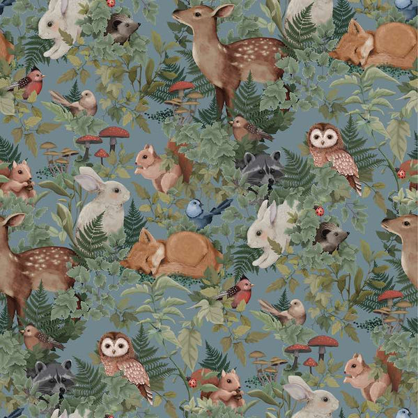 Jimmy Cricket Woodlands Wallpaper - Dusty Blue - Oliver Thomas Children's Boutique