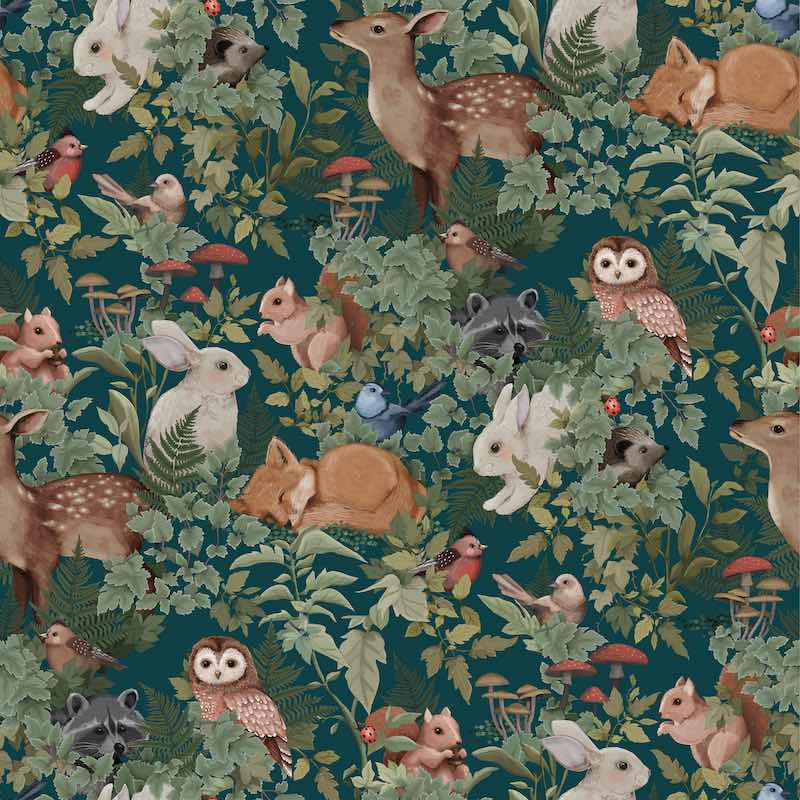 Jimmy Cricket Woodlands Wallpaper - Teal