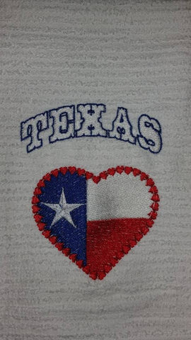 Texas Heart Embroidered Kitchen Towel