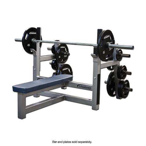 LEGEND FITNESS OLYMPIC FLAT BENCH W/PLATE STORAGE - 3150