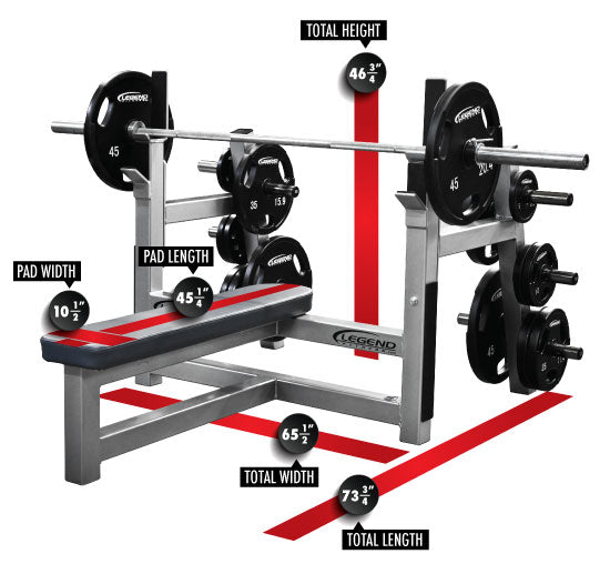 Legend Fitness Olympic Flat Bench W Plate Storage 3150 Cff Strength Equipment Cff Fit