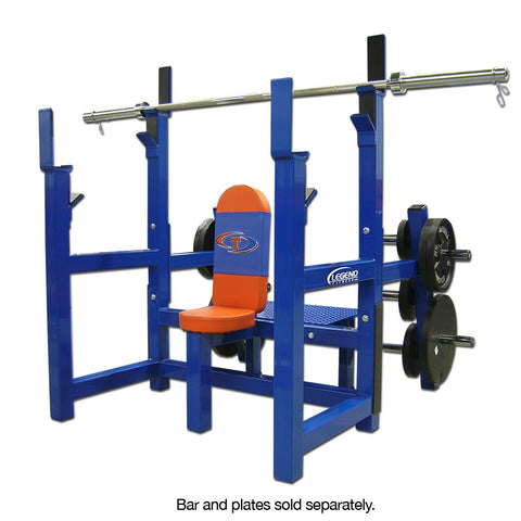 LEGEND FITNESS OLYMPIC SHOULDER BENCH W/PLATE STORAGE