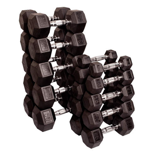 WRIGHT RUBBER HEX DUMBBELLS - WEIGHTS