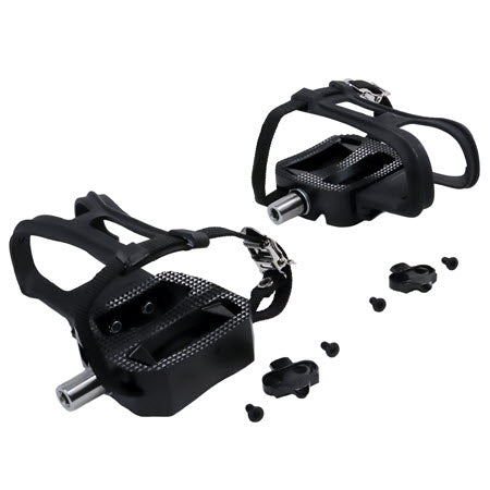 MORSE TAPER SPD CLIP PEDALS w/ CLEATS, TOE CLIPS, AND STRAPS