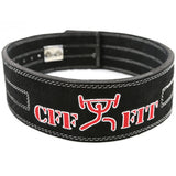 Black leather weightlifting lever belt
