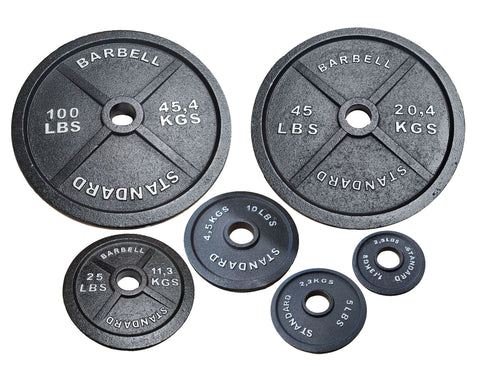 Standard Barbell Olympic Weight Plates 2.5, 5, 10, 25, 45, and 100 lb. Plates