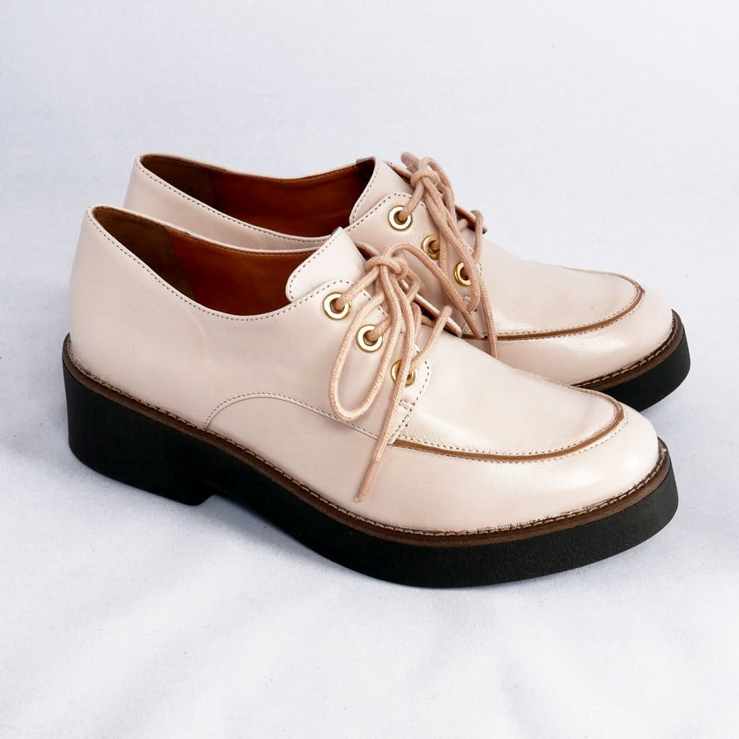 Fusion Rose Nude Lace-up Leather Oxford