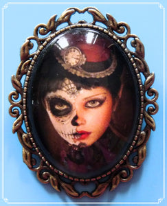 The Dia de los Muertos brooch is part of my Steampunk collection.
