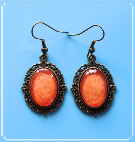 Jubilant (orange brocade) drop earrings, part of my Colour Your World collection.