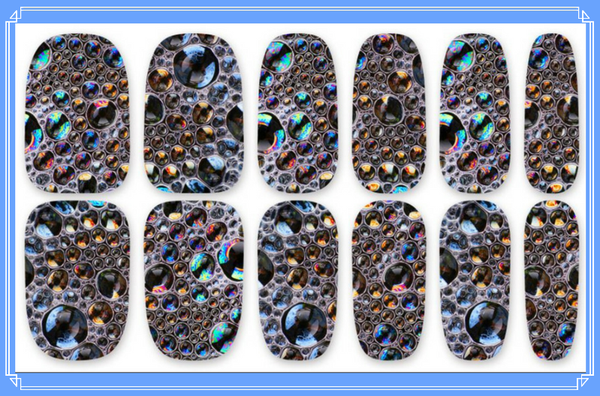 Nail Wraps - Cellular Structure, a microscopic view of cells or maybe they are bubbles!   Please note that depending on the length of your nails part of the design may not show.