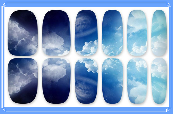Nail Wraps - Clouds, an all over pattern of a cloudy sky graduating from dark to light.  Can you spot Saturn?   Please note that depending on the length of your nails part of the design may not show.