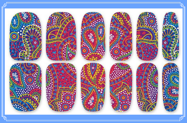 Nail Wraps - Eastern Dreams, a beautiful paisley pattern reminiscent of the Middle East and India.  Please note that depending on the length of your nails part of the design may not show.