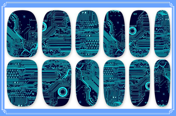 Nail Wraps - Motherboard, the ultimate in geek nail chic.    Please note that depending on the length of your nails part of the design may not show.