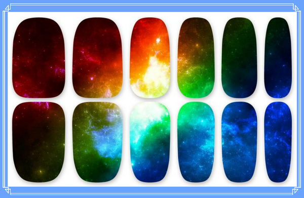 Nail Wraps - Nebula, an interstellar cloud of dust, hydrogen, helium and other ionized gases.  Why not wear it on your nails!  Please note that depending on the length of your nails part of the design may not show.