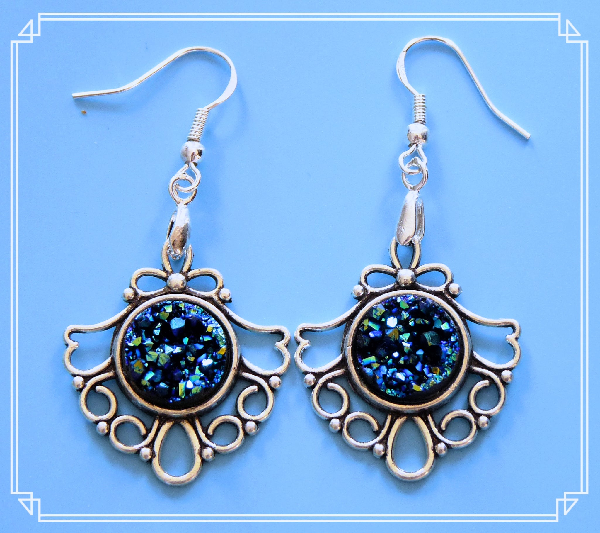 The moon rock in blue earrings are part of my Colour Your World collection. Please note that these are a rough finish and each rock is unique.