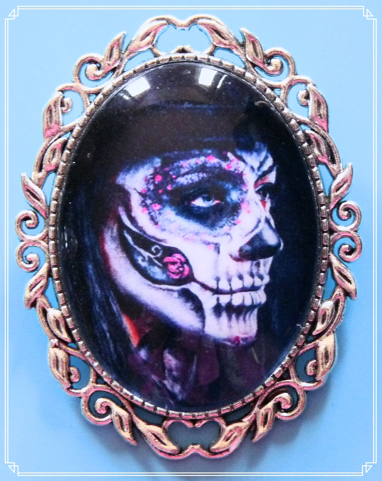 The Day of the Dead brooch is part of my Steampunk range.