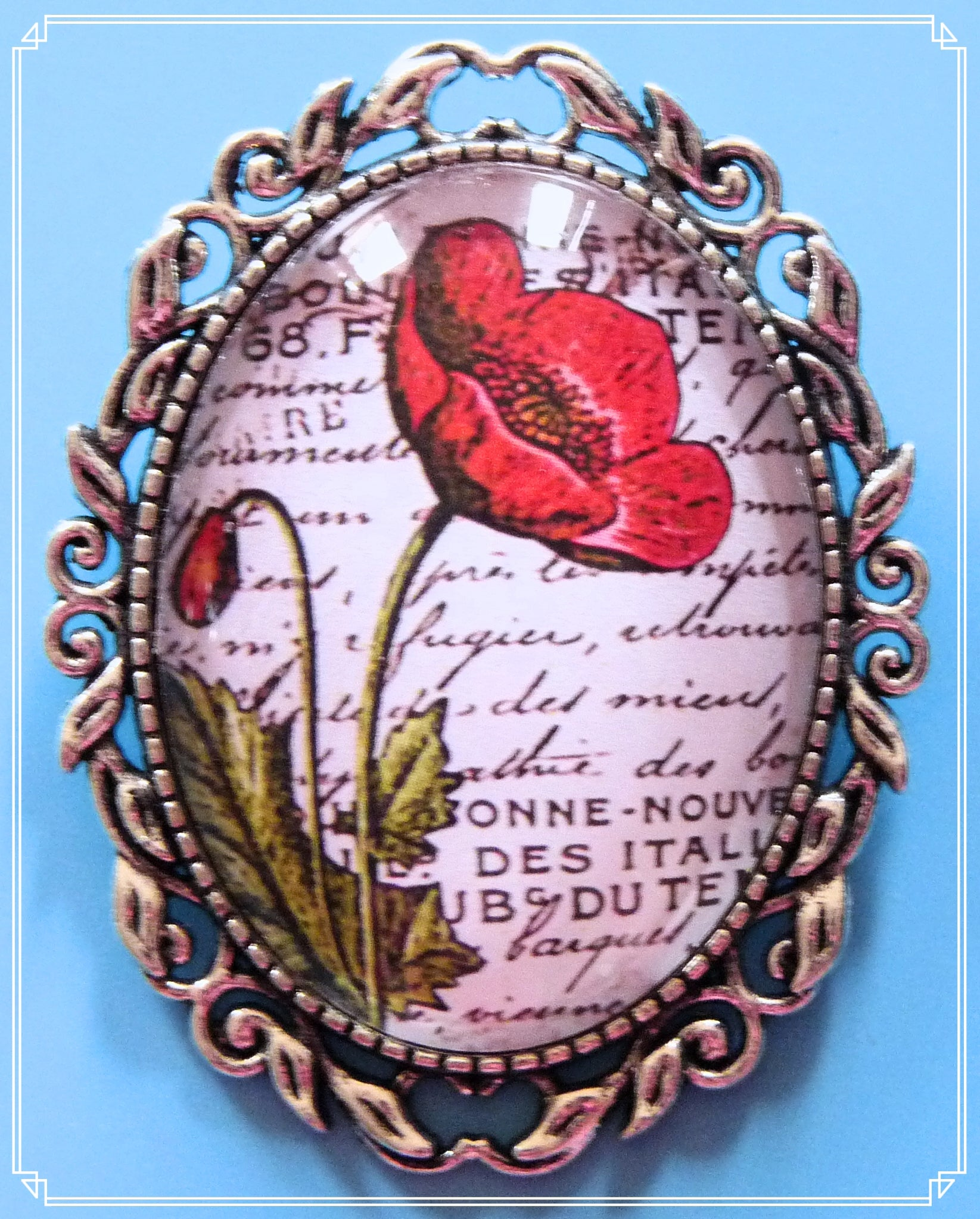 The Red Poppy brooch is part of my Steampunk collection.