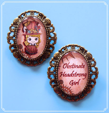 Steampunk Sally mini brooch set, part of my Steampunk collection and suitable for girls of all sizes! The setting has a loop soldered to the back so wear as a necklace or brooch
