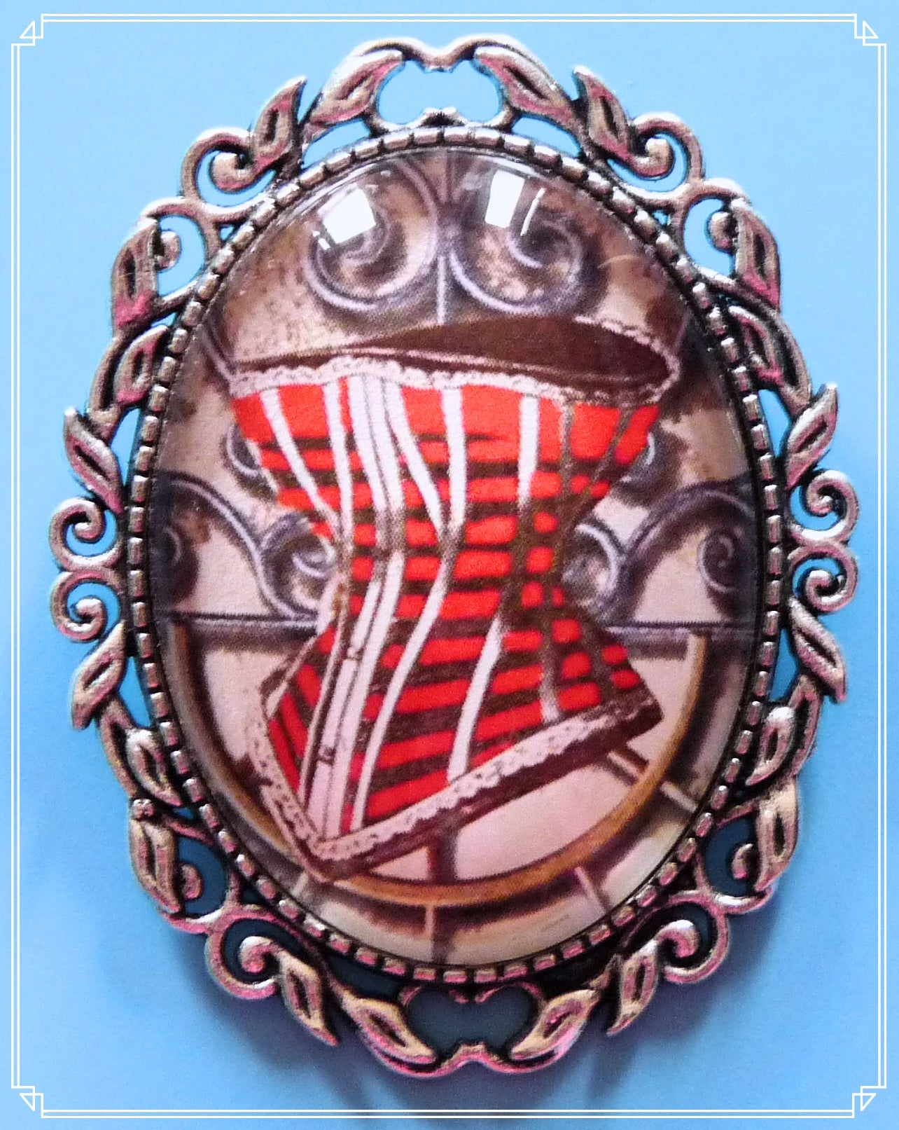 The Corset on Metal brooch is part of my Steampunk collection.