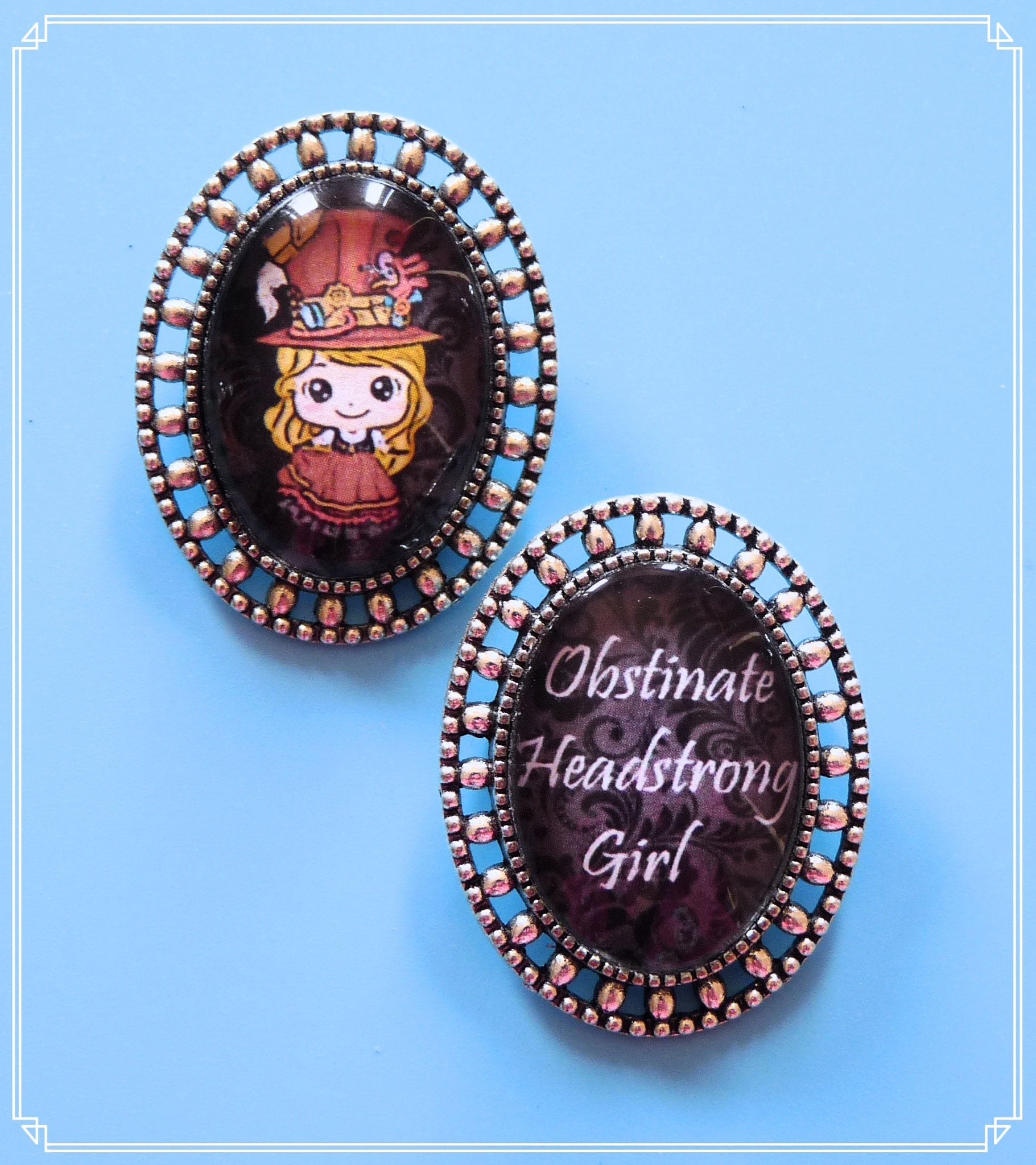 Steampunk Sally mini brooch set on black brocade, part of my Steampunk collection and suitable for girls of all sizes!