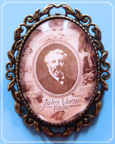 The World's Greatest Prophet brooch, featuring Jules Verne is part of my Steampunk collection.