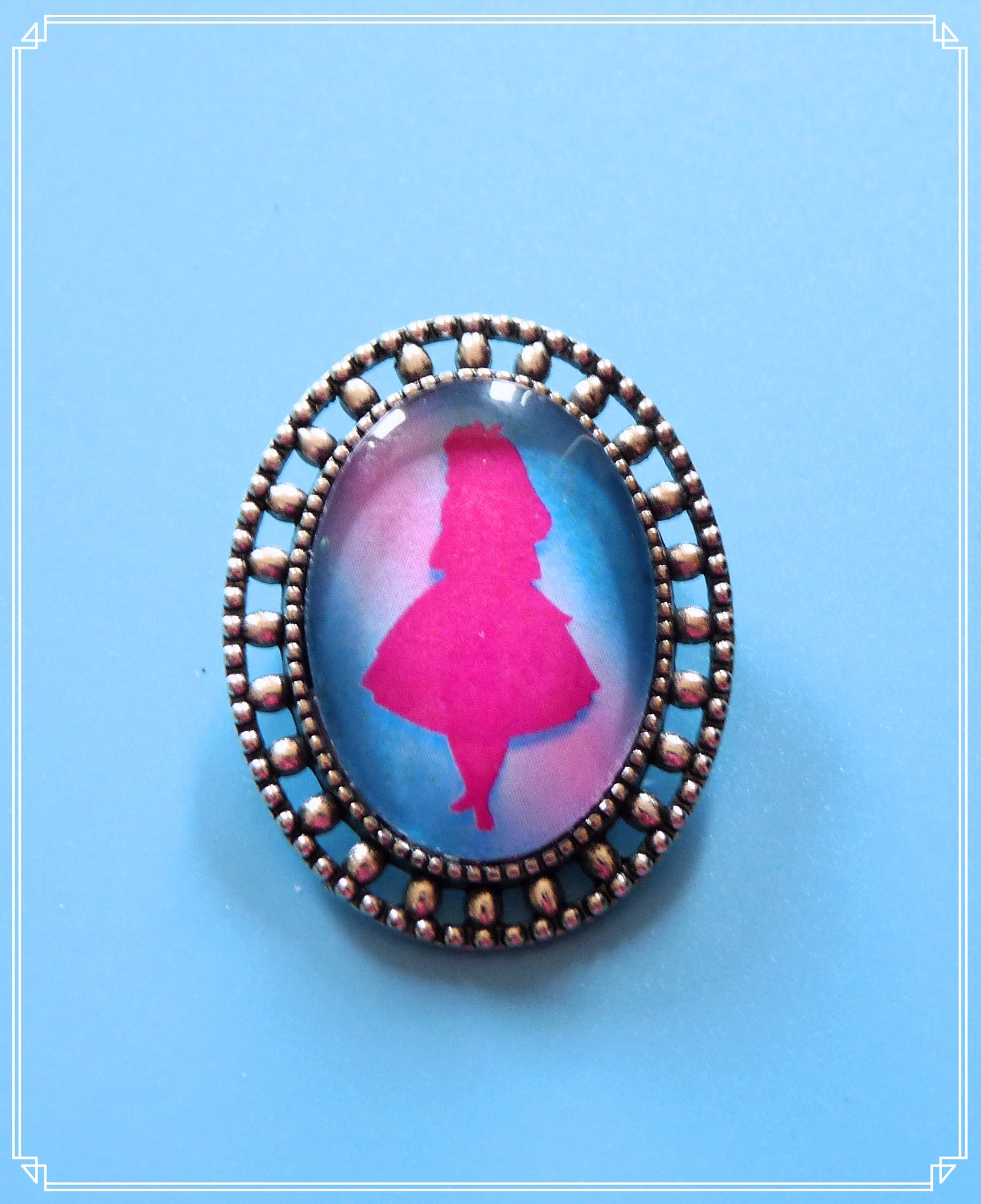 Alice (pink) mini brooch single, part of my Fantasy collection and suitable for girls of all sizes!
