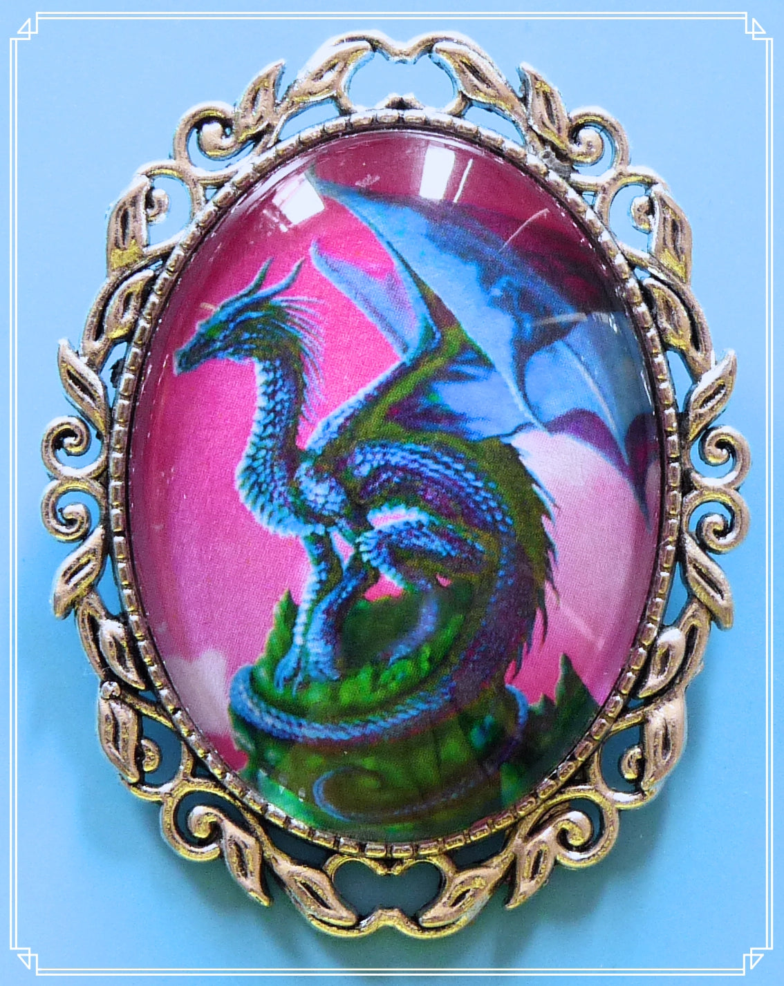 The Thunderdrum dragon brooch is part of my fantasy collection and named after the blue dragon in How to Train Your Dragon.