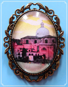 The Venice at Dusk brooch is part of my Colour Your World collection.  This is a photo I took in Venice during my 2009 trip overlooking the grand canal towards the Duomo.  I have colour adjusted and added an oil painting effect.