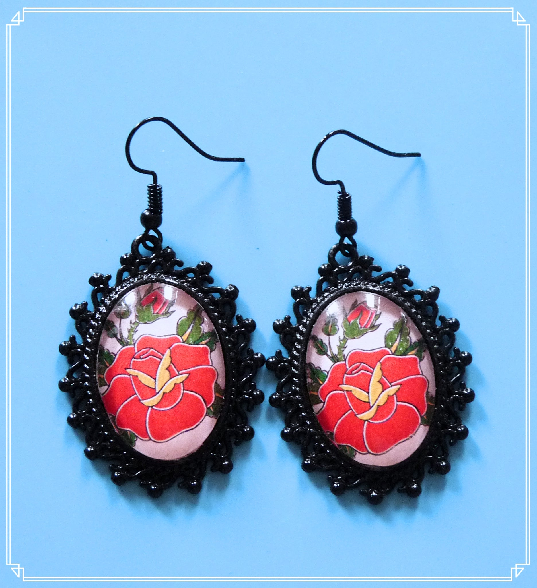 Rose statement earrings (black setting) is a collaboration with Crystalline of Print With Love and part of my Colour Your World collection.  This image was drawn exclusively for Tikas Treasure and you won't find it elsewhere.  The print can be purchased at Print with Love on Etsy.