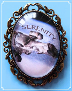 The Serenity brooch was inspired by the Sci-Fi TV show Firefly.