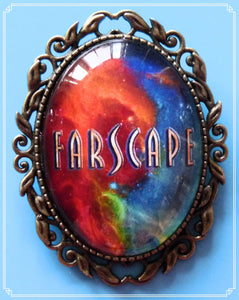 The Farscape rainbow galaxy brooch was inspired by the Sci-Fi TV show Farscape.