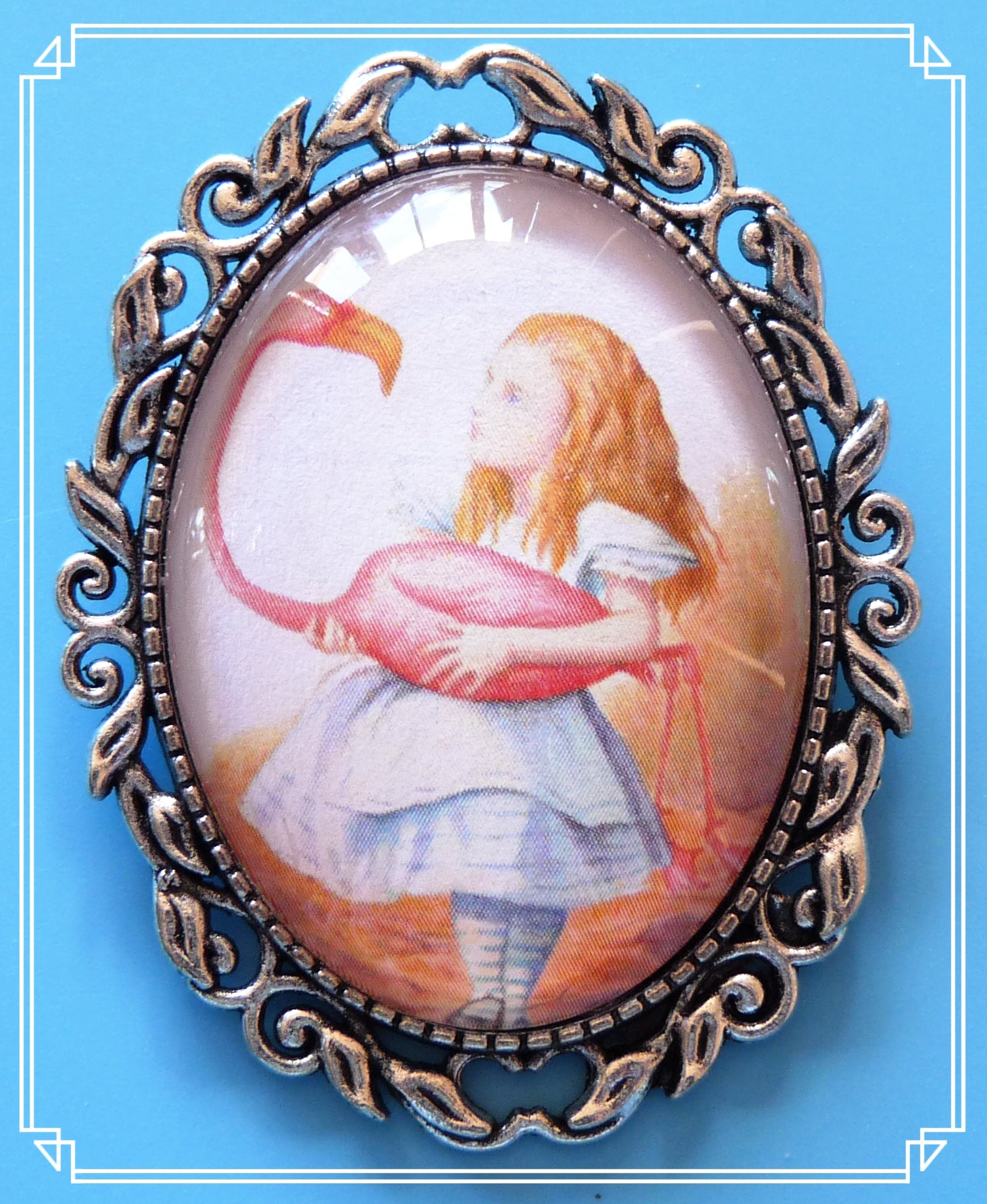 Alice with flamingo brooch is an illustration by John Tenniel for the original Alice in Wonderland books.