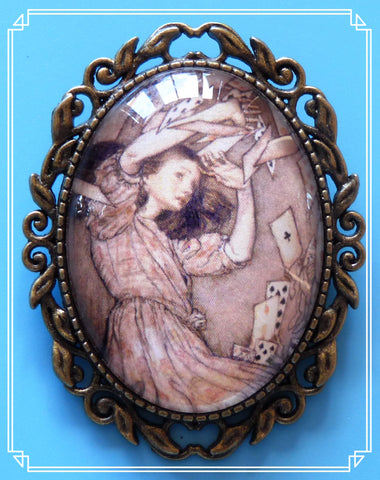 Alice and the Cards brooch is Arthur Rackham's interpretation of Alice in Wonderland, drawn in 1907.