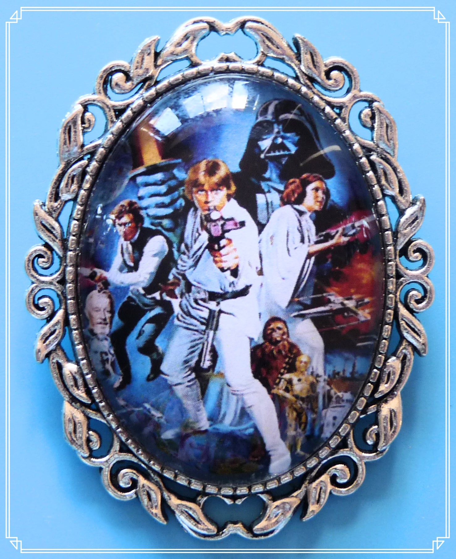 The A New Hope brooch is part of my Sci-Fi collection and a homage to the original Star Wars films.
