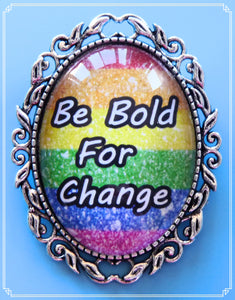 The Be Bold For Change brooch was a design I created for International Women's Day.