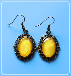Joy (yellow marbled) drop earrings, part of my Colour Your World collection.