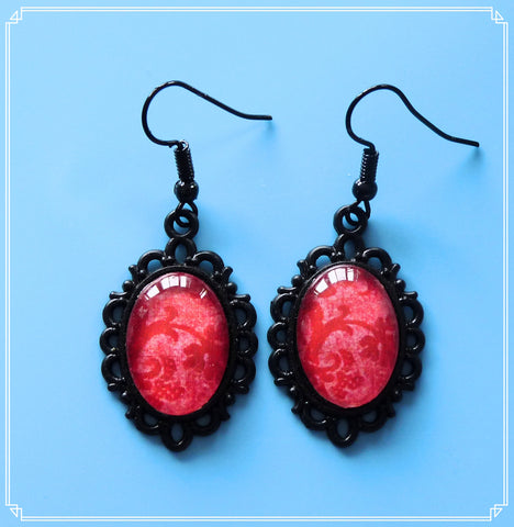 Love (red brocade) drop earrings, part of my Colour Your World collection.