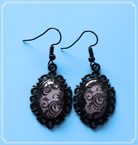 Tenacious (black brocade) drop earrings, part of my Colour Your World collection.