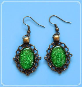 The green glitter drop earrings in bronze setting are part of my Colour Your World collection.
