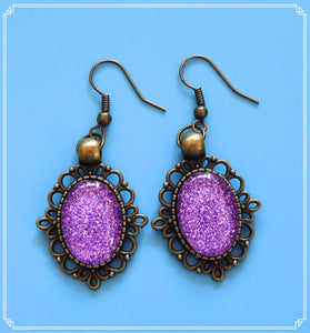 The purple glitter drop earrings in bronze setting are part of my Colour Your World collection.